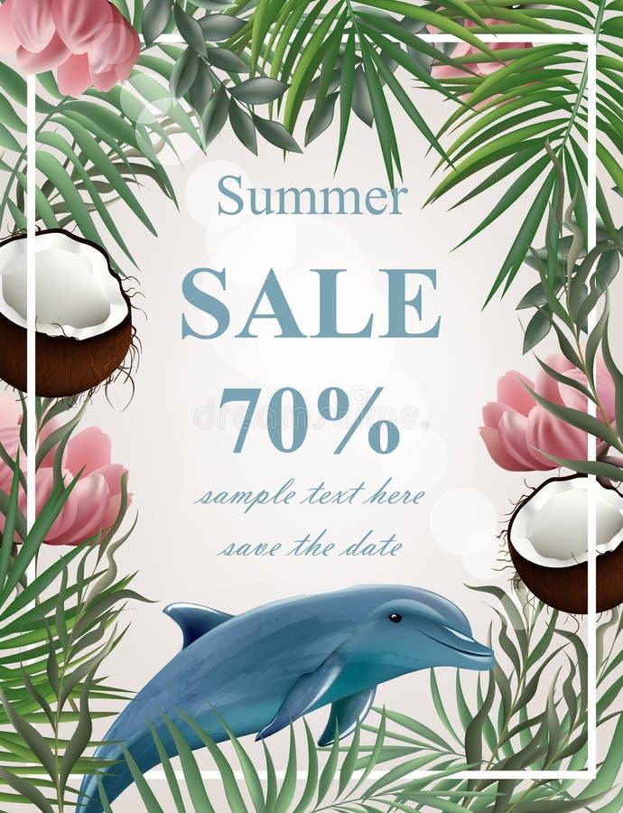 Sommarförsäljningskort med palmträdet, kokosnötter, delfinvektor stock illustrationer