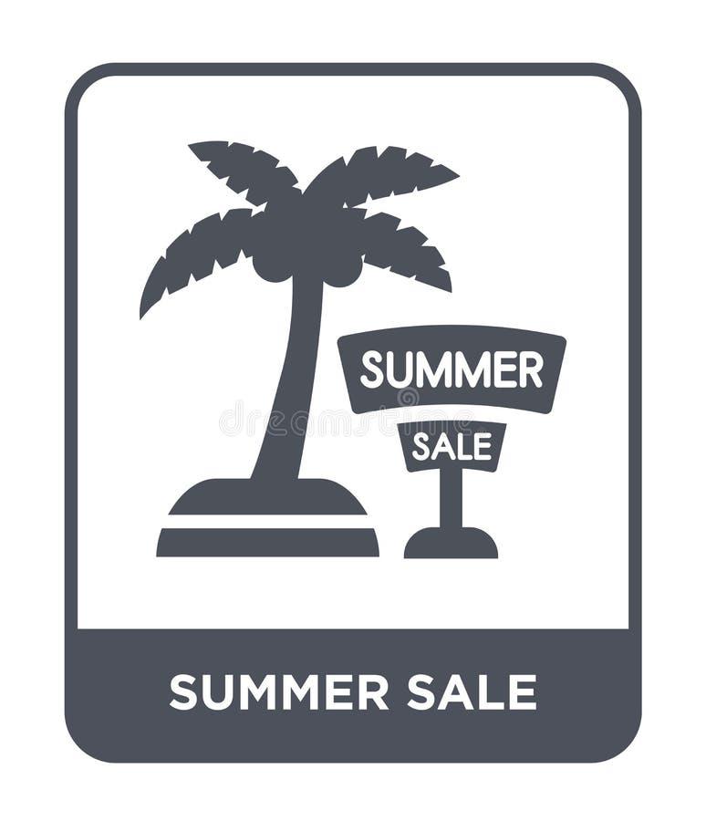 sommarförsäljningssymbol i moderiktig designstil sommarförsäljningssymbol som isoleras på vit bakgrund modern symbol för sommarfö royaltyfri illustrationer