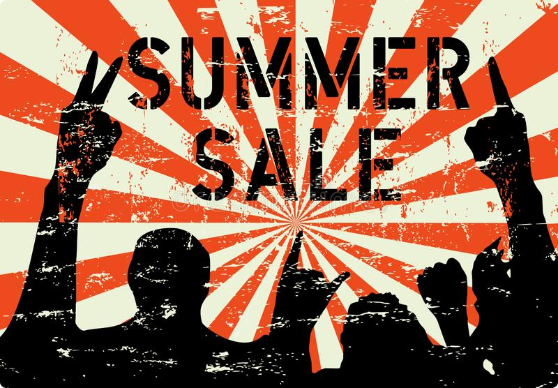 Sommarförsäljningstecken eller annonsering, grungy stil, uppdiktat konstverk, vektor royaltyfri illustrationer