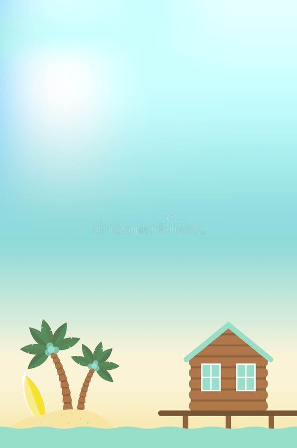 Sommarferie, bungalow och ö i havet vektor illustrationer