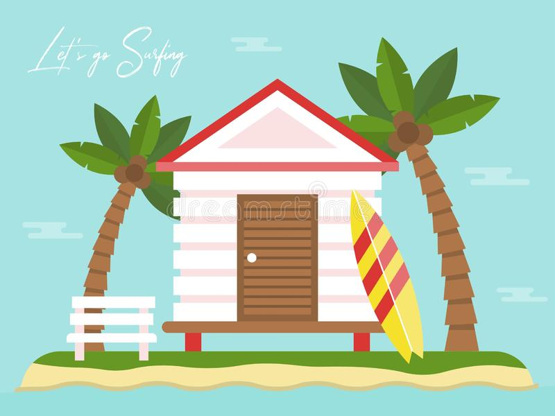 Sommarferie, bungalow på ön med havssikt vektor illustrationer