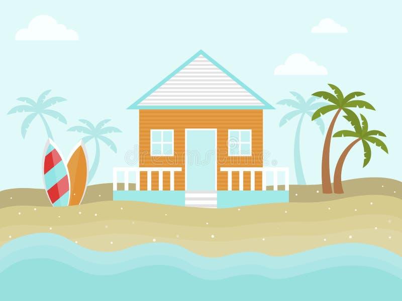 Sommarferie, bungalow på strandvektorn royaltyfri illustrationer