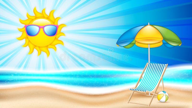 Sommarferie i kust royaltyfri illustrationer