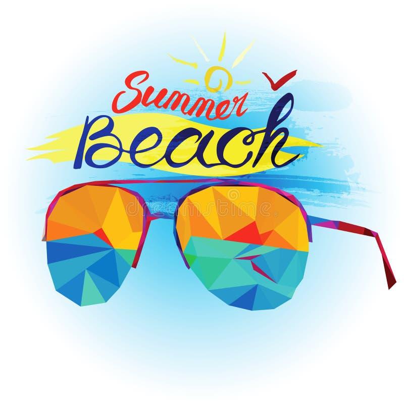 Sommarferie och strand Solglasögon och havssikt som göras i polygonal stil vektor illustrationer