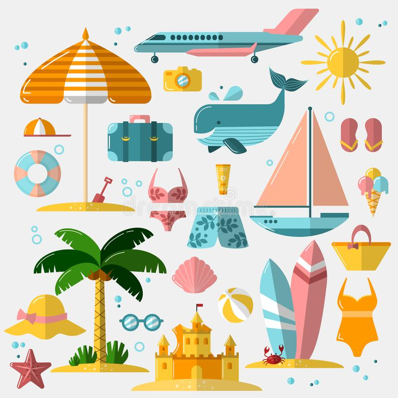 Sommarferie, turism och plana symboler för semester Vektorillustration av tillbehör för sommarsemester, plan symbolsuppsättning vektor illustrationer