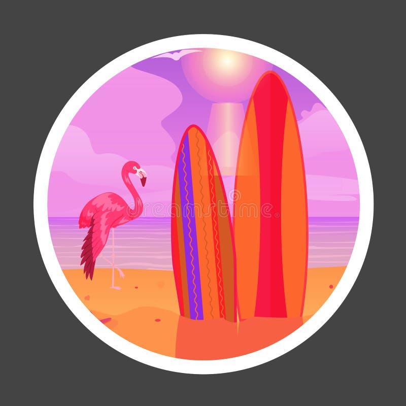 Sommarflamingo på solnedgångbakgrund Tropisk strandplats med flamingofågeln och surfingbrädabanervektorn royaltyfri illustrationer