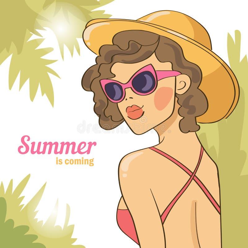 Sommarflicka i solglasögon brigham stock illustrationer