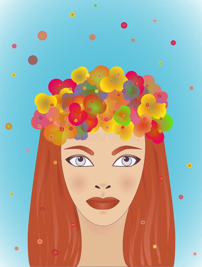 Sommarflicka med rött hår ljus vattenfärg kvinna för rengöringsduk för mall för sida för hälsning för bakgrundskortframsida unive stock illustrationer
