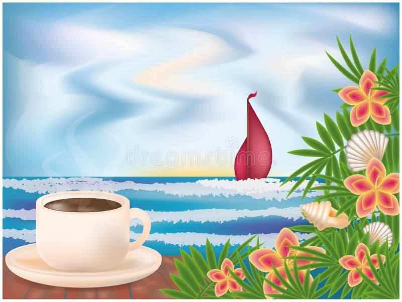 Sommarfrukost stock illustrationer