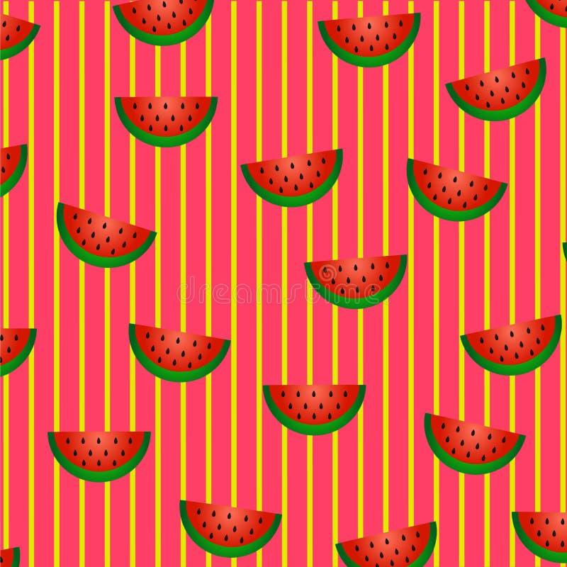 Sommarfruktmodell: skivor av vattenmelon med röd trämassa som är gröna skalar, och svart frö sprids kaotiskt royaltyfri illustrationer