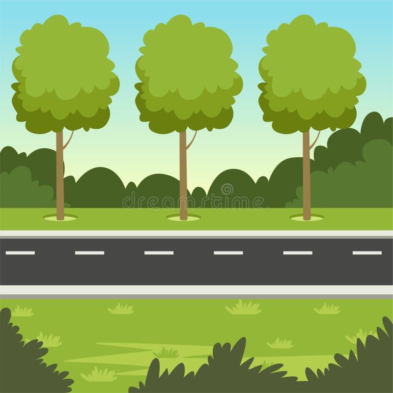 Sommargräsplanlandskap med vägen och träd, illustration för naturbakgrundsvektor stock illustrationer