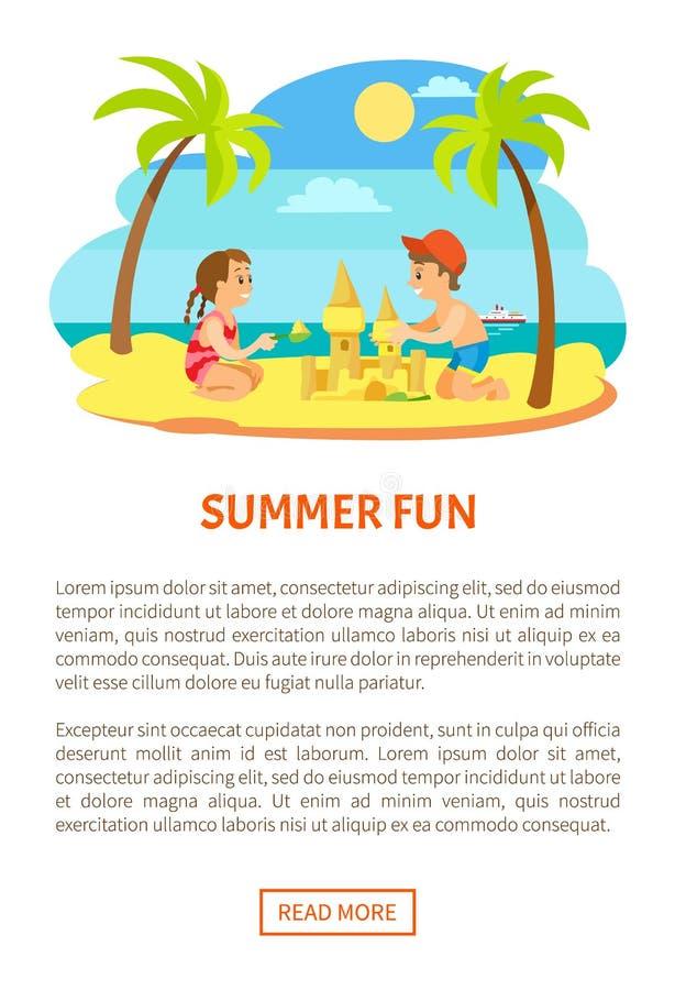 Sommargyckel, barn på stranden som gör sandslotten vektor illustrationer