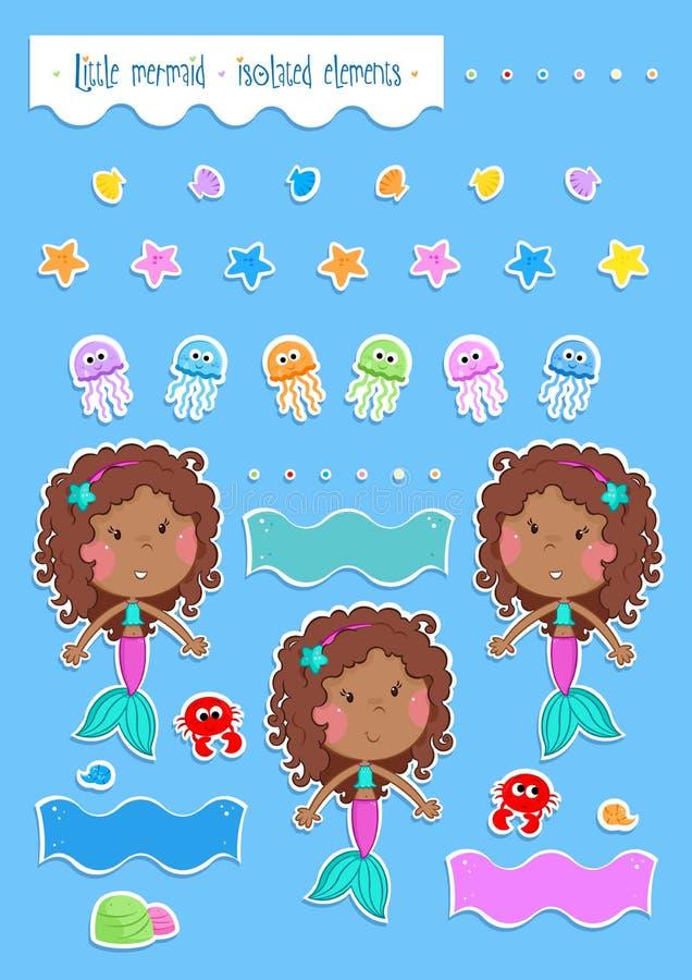 Sommargyckel - gullig liten sjöjungfru och hennes havvänner - isolerade royaltyfri illustrationer