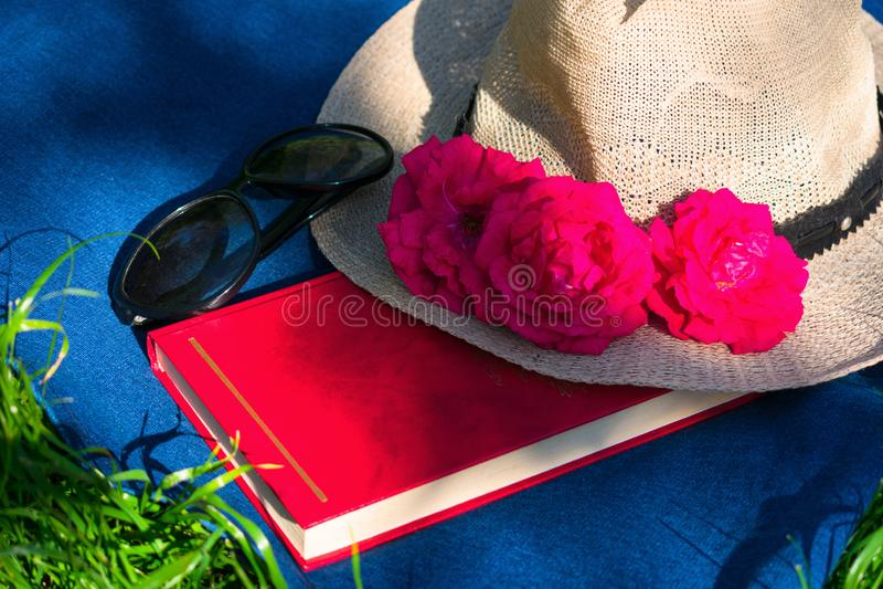 Sommarhatt med rosa färg, en bok och solglasögon på grönt gräs begrepp f?r ferie arkivfoton