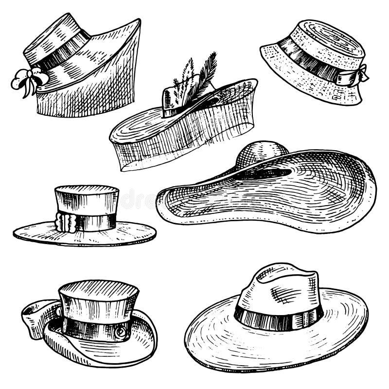 Sommarhattsamling för elegant kvinna, kvinnlig och damer Retro modetappninguppsättning Breton Panama, Bred-brätte stock illustrationer