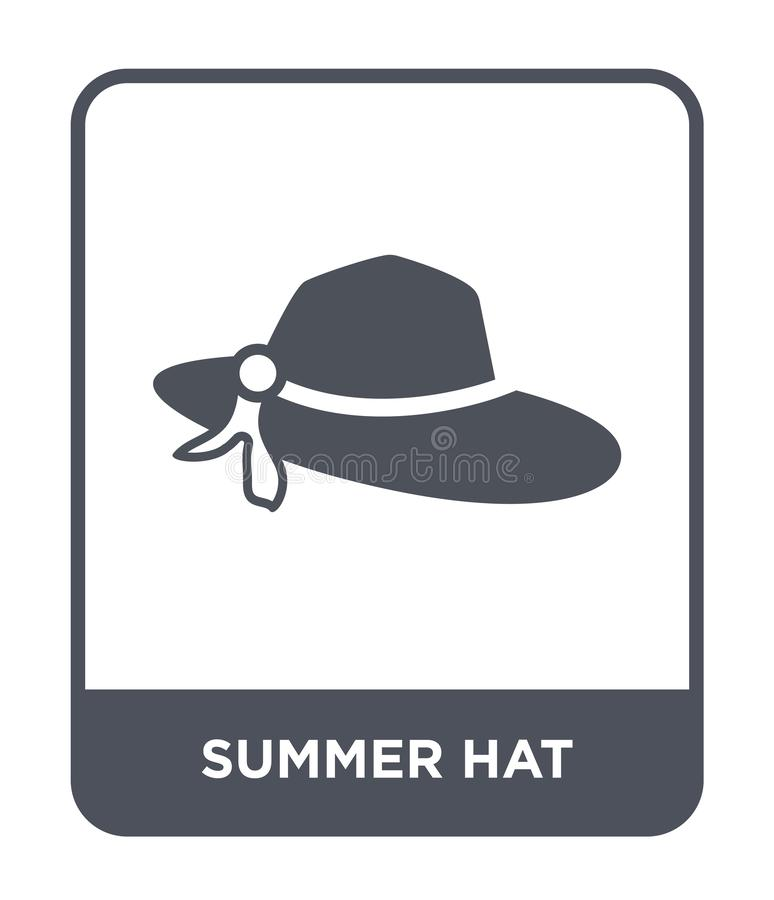 sommarhattsymbol i moderiktig designstil sommarhattsymbol som isoleras på vit bakgrund modern symbol för sommarhattvektor som är  vektor illustrationer