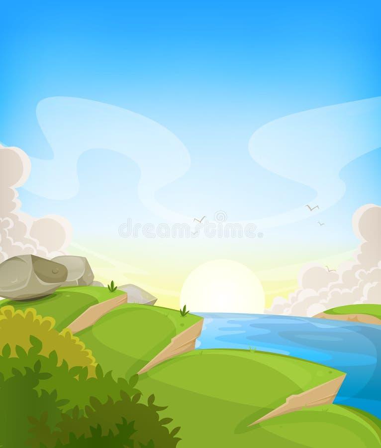 Sommarhavlandskap royaltyfri illustrationer