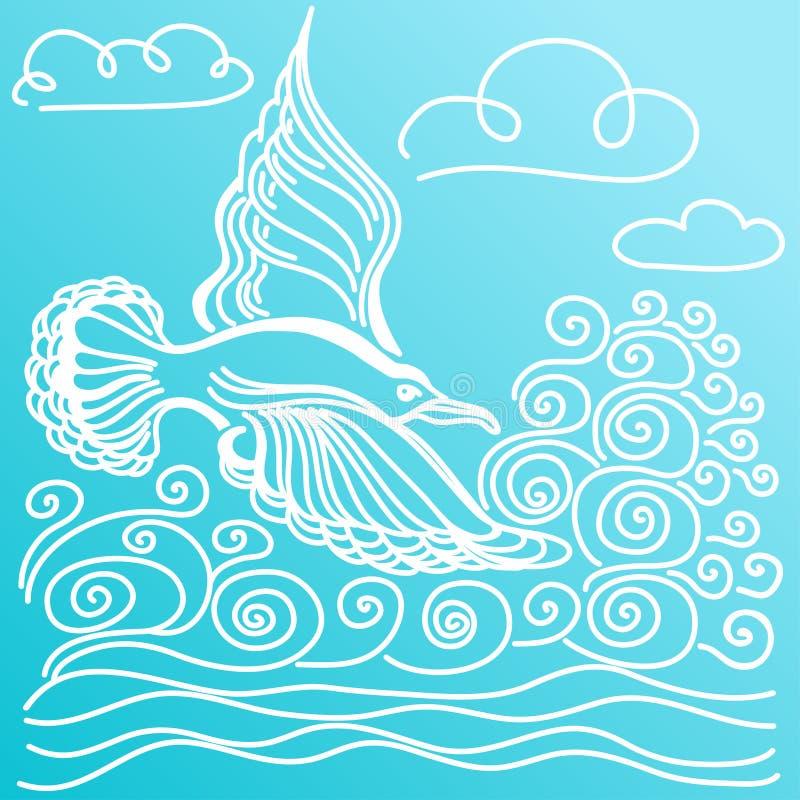 Sommarhavsbaner Illustration av fågelseagullen, himmel och vågor vektor illustrationer