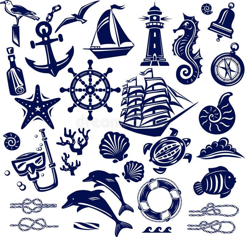 Sommarhavssymboler royaltyfri illustrationer