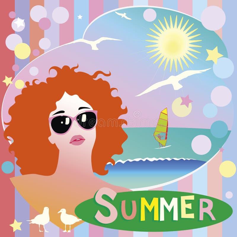 Sommarillustration stock illustrationer