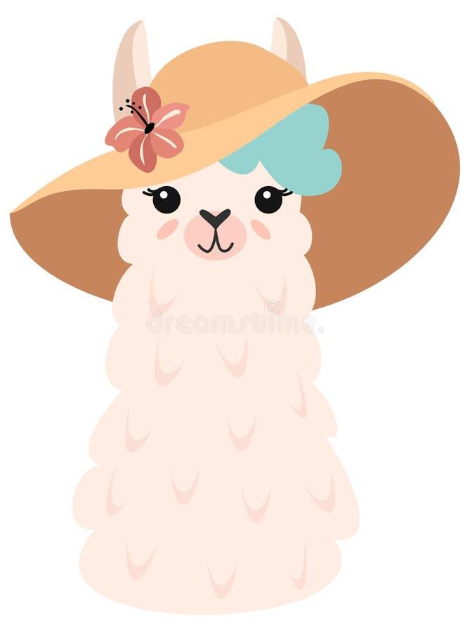 Sommarillustration med en gullig lama i en rolig hatt med en blomma kantlagrar l?ter vara vektorn f?r oakbandmallen Stilfull teck stock illustrationer