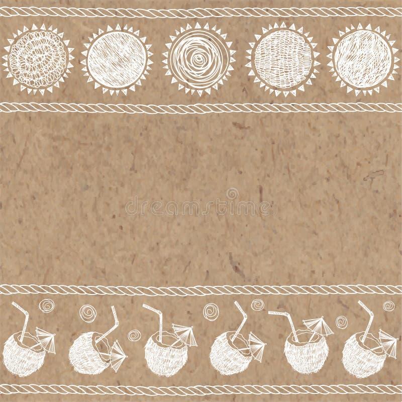 Sommarillustration med utrymme för text på kraft papper stock illustrationer