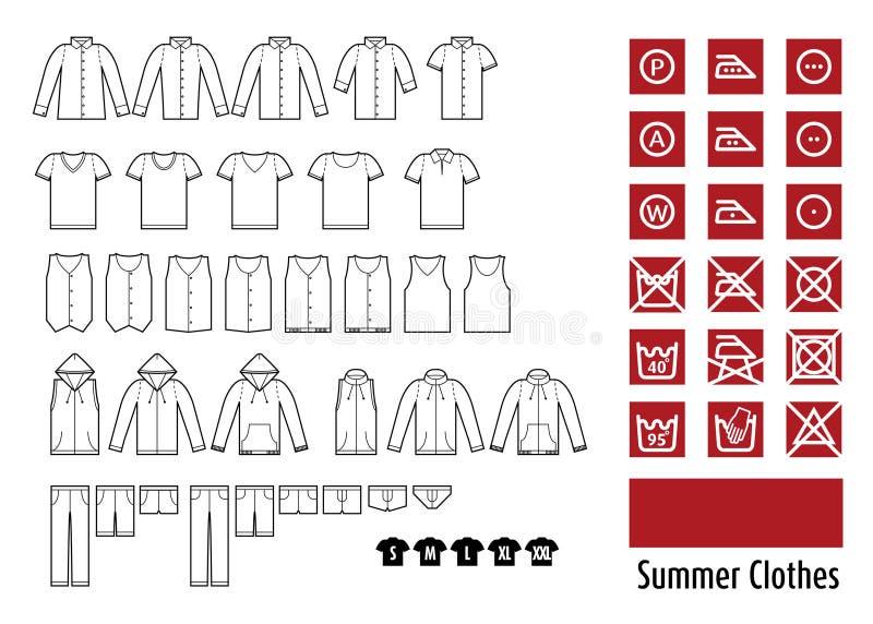 Sommarkläder och klädersymbol stock illustrationer