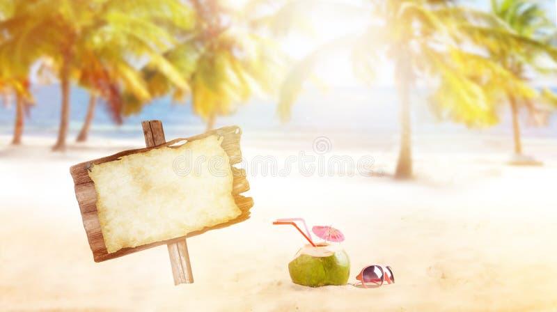 Sommarkokosnötdrink på stranden royaltyfri foto