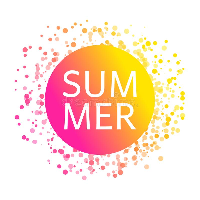 Sommarkort med ber?mkonfettimodellen F?rgrik papperskonfettitextur som den ljusa solen stock illustrationer