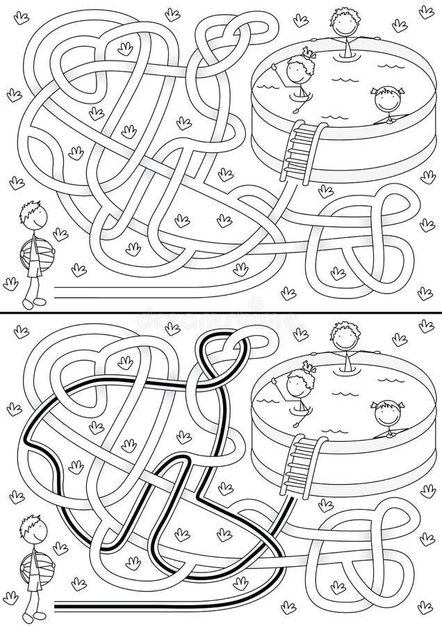 Sommarlabyrint royaltyfri illustrationer