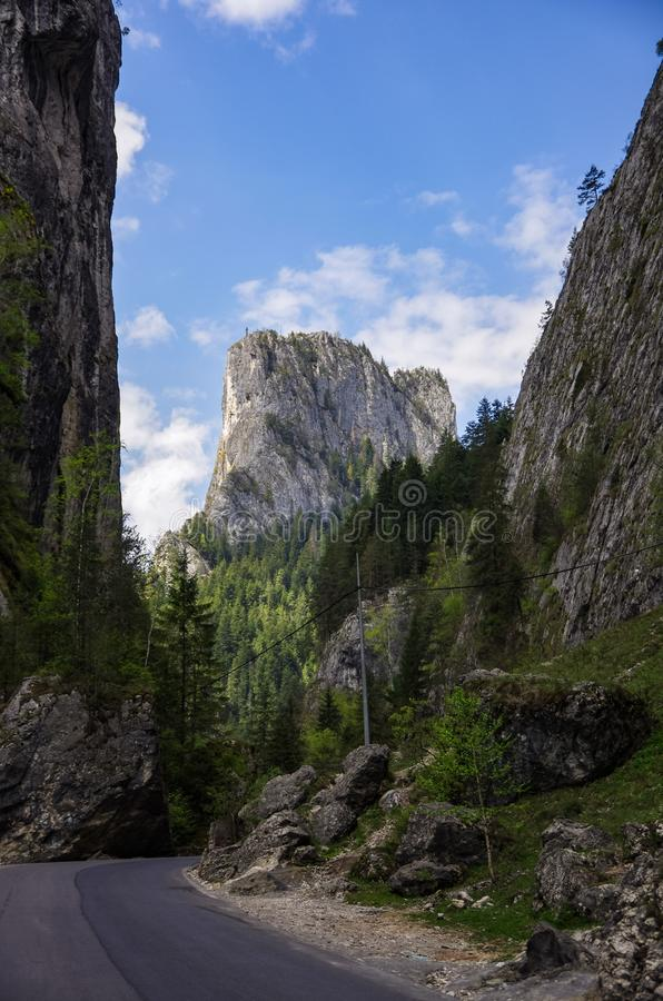 Sommarlandskap av den berömda Bicaz klyftakanjonen i det Neamt länet royaltyfri fotografi