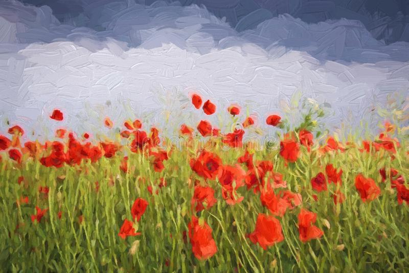 Sommarlandskap för olje- målning - fält av vallmo stock illustrationer