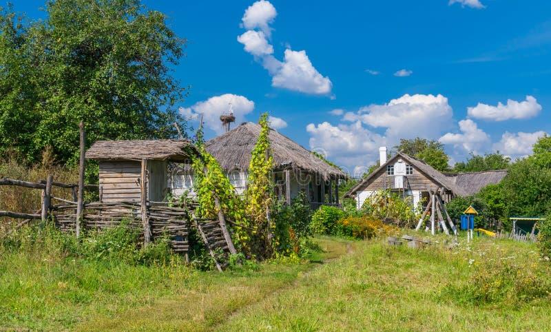 Sommarlandskap i en forntida lantgård-stead Proni i Poltavskaya oblast, arkivfoto