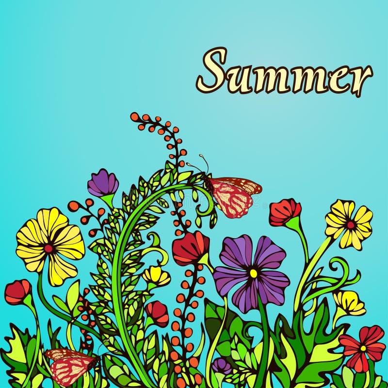Sommarlandskap i stilbohostilen, hippie, kort, räkning Abstrakta mångfärgade blommor på en blå bakgrund stock illustrationer