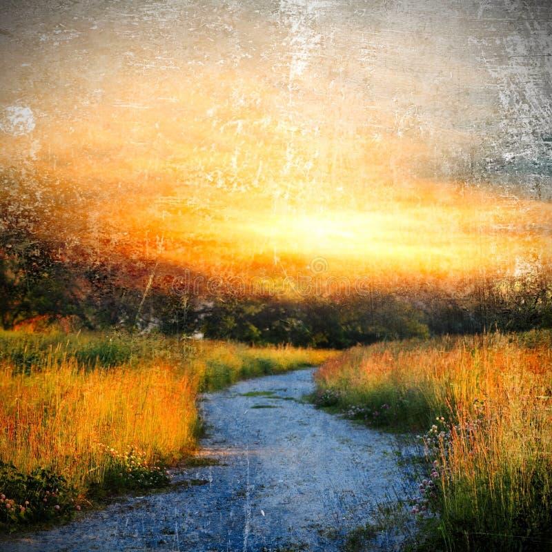 Sommarlandskap med en lantlig väg arkivbilder