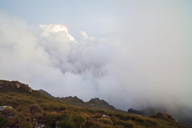 Sommarlandskap med höga berg i en sommardag royaltyfri bild