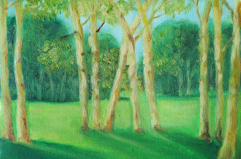 Sommarlandskap med unga träd i förgrunden royaltyfri illustrationer