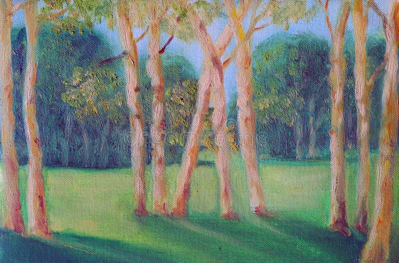 Sommarlandskap med unga träd i förgrunden vektor illustrationer