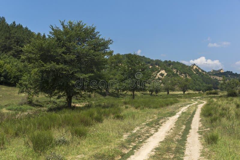 Sommarlandskap nära by av Zlatolist och Melnik sandpyramider, Pirin berg, Bulgarien royaltyfria bilder