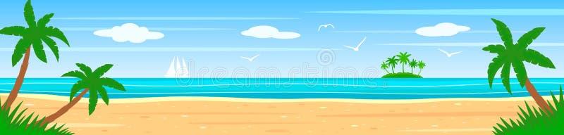 Sommarlandskap på kusten av en tropisk ö med palmträd, hav, vit segelbåt royaltyfri illustrationer