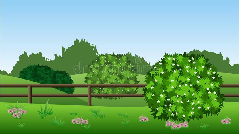 Sommarlandskapbakgrund med gröna buskar i blomning, kullar, stock illustrationer
