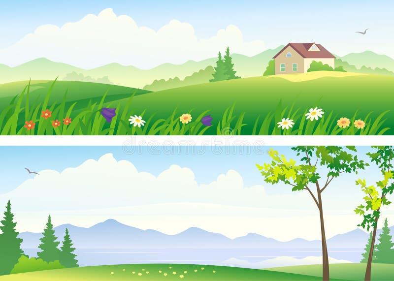 Sommarlandskapbaner royaltyfri illustrationer