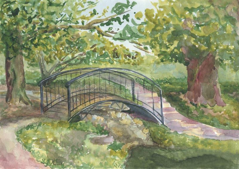Sommarlandskapet med träd och bron över floden, parkerar royaltyfria foton