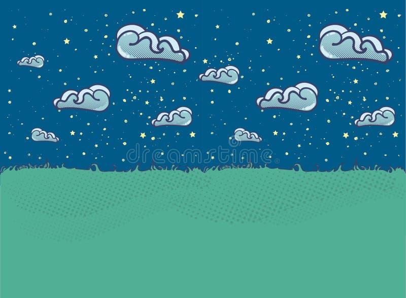 Sommarlandskapillustration med moln i plan stil royaltyfri fotografi