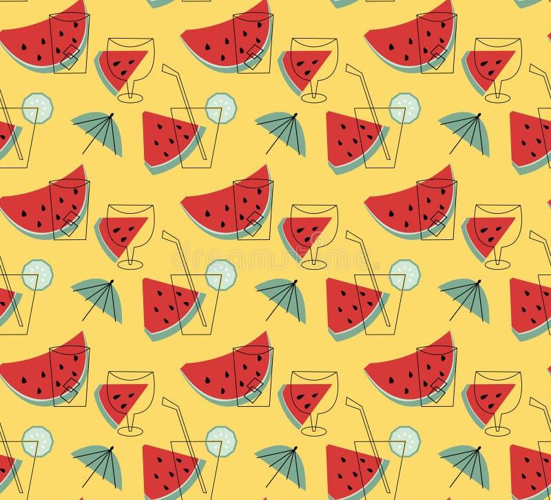 Sommarlemonad med vattenmelonvektortapeten royaltyfri illustrationer