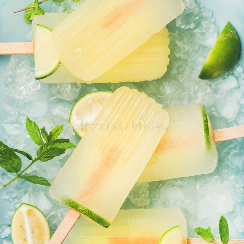 Sommarlemonadisglassar med limefrukt och kanstött is, fyrkantig skörd arkivbilder