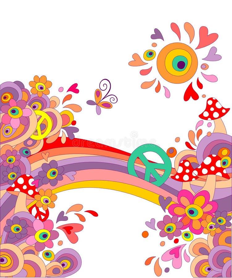 Sommarlik bakgrund för hippie med abstrakta färgrika blommor, champinjoner, fredsymbol och regnbågen vektor illustrationer