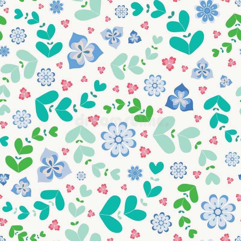 Sommarlik sömlös repetitionmodell av stiliserade blommor och sidor En nätt blom- vektordesign i grönt, blått och rosa stock illustrationer