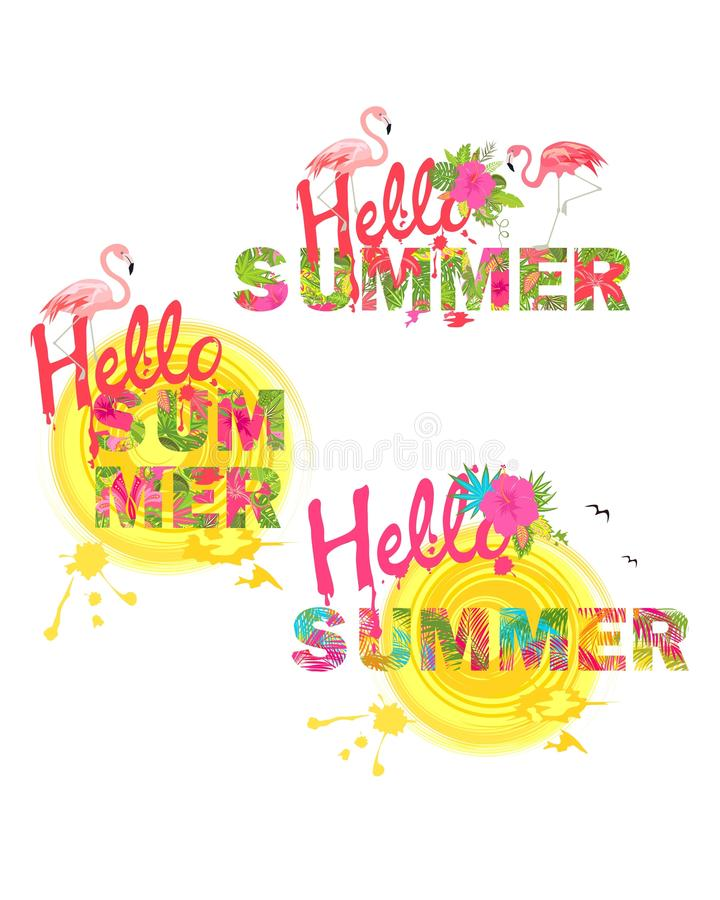 Sommarlik trycksamling med hälsningsommarbokstäver, tropiska blommor, solen och flamingo vektor illustrationer