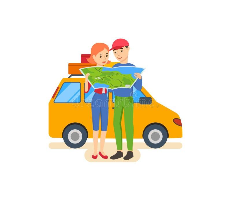 Sommarlopp - familjtur som värme landet i hans bil stock illustrationer